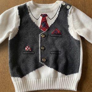 🏇🏼 2/$20 Faux Vest Christmas Sweater Size 18m